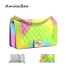 hot deal buy crossbody bags for women  2018 summer candy colored luxury bags pvc silicone jelly shoulder messenger bags chains girl me849
