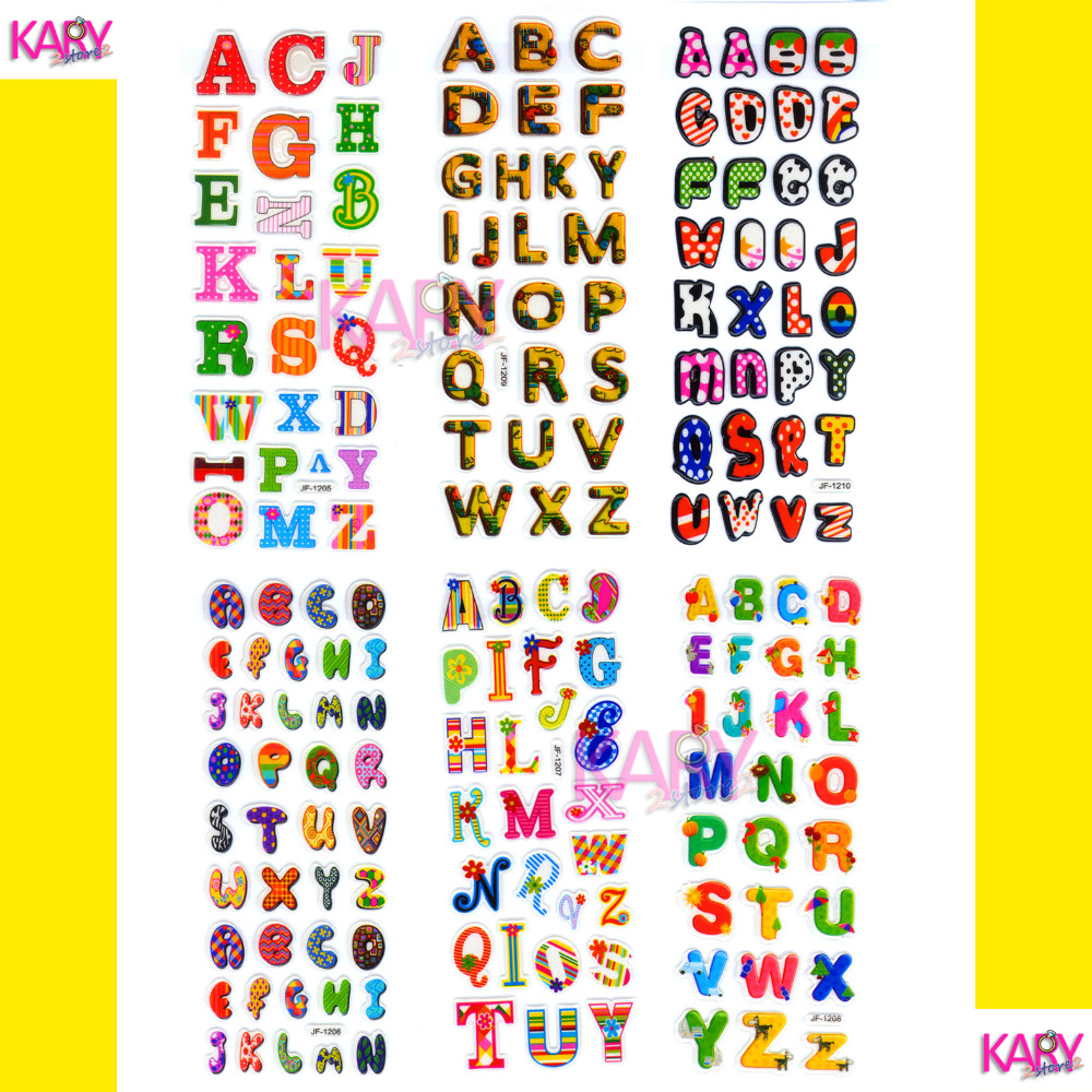 6 sheets scrapbooking cute kawaii letters emoji teachers reward kids children toys bubble puffy stickers factory direct sales