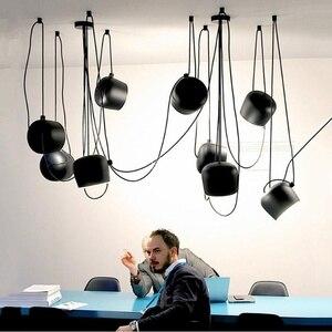 Image 4 - Nordic Personality DIY Spider Pendant Lamp White or Black Drum Shade Pendant Light Modern Adjustable Hanging Drum Light Fixture