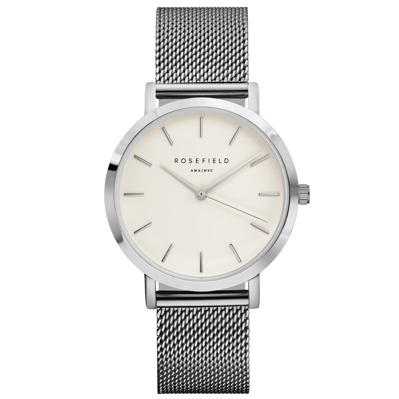 Ladies Ultra-Thin Watch - silver mesh link strap