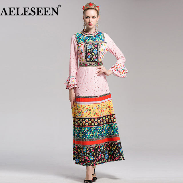 6042794219 Designer Ladies Dresses 2018 Early Spring Fashion High Quality Runway Maxi  Flare Beading Floral Printed Vintage Long Dress