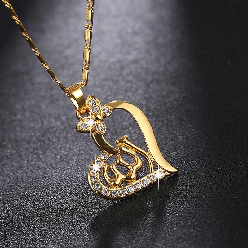 SONYA Arabic Women Heart Shape Gold-color Muslim Islamic God Allah Charm Pendant  Necklace Jewelry d348825a1650