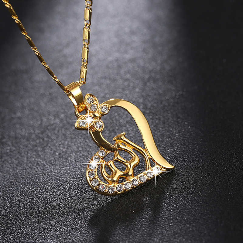 SONYA arabski kobiety serce w kształcie serca złota kolor muzułmanin islamski bóg Allah urok wisiorek naszyjnik biżuteria prezent na Ramadan Bijoux Femme