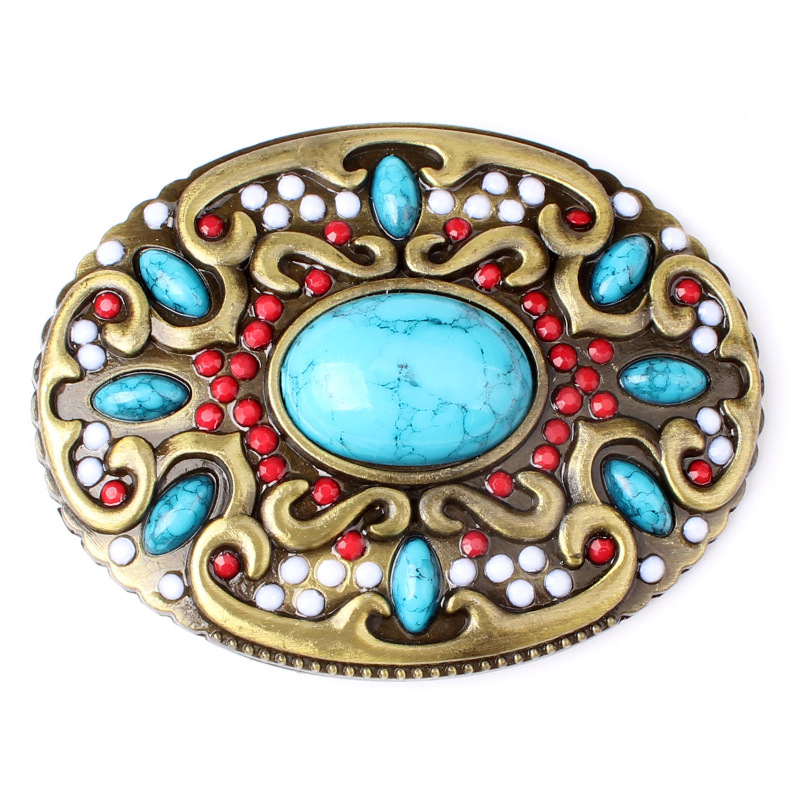 Point Drilled Belt Buckle For Ladies With Bead Head