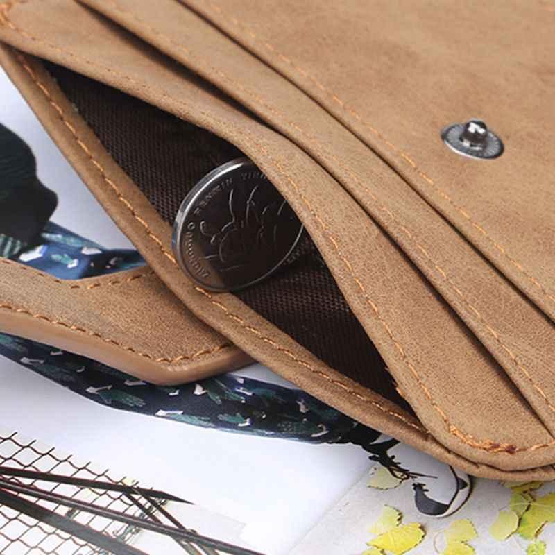 Botão Retro Bolsa Carteira de Couro dos homens de Slim Negócios ID Titular do Cartão de Crédito