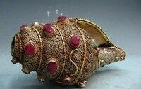 L 8 непальский чистый серебряный Декор Рубин берилл тарелка в форме раковины