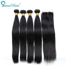 Rambut Panse Lurus Rambut Manusia Brazil yang tenunan 4 Kumpulan Per Lot Rambut Manusia dengan penutupan Disesuaikan 8-28 Inci Rambut Non Remy