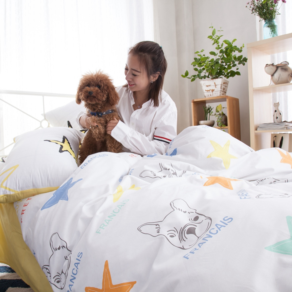 Star and dog print 100% cotton bedding set queen king size soft duvet cover bed sheet bedding pillowcases cartoon duvet cover