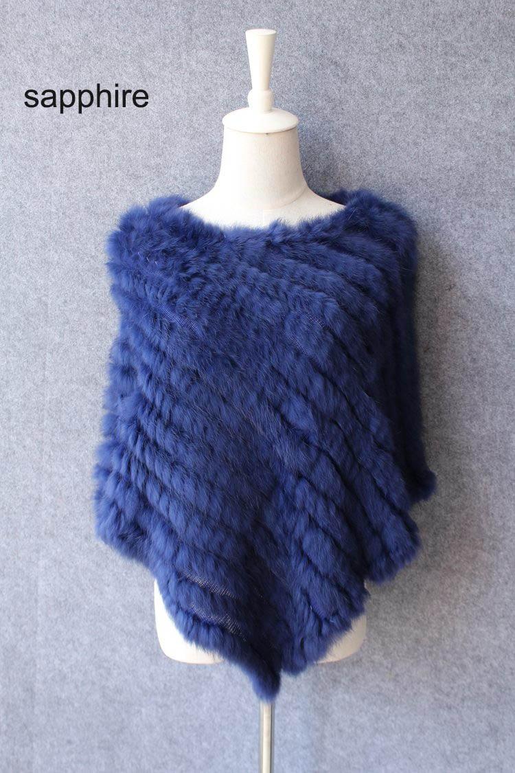 Otoño Invierno Señoras Genuinas Poncho 100% real de piel de conejo - Accesorios para la ropa - foto 6