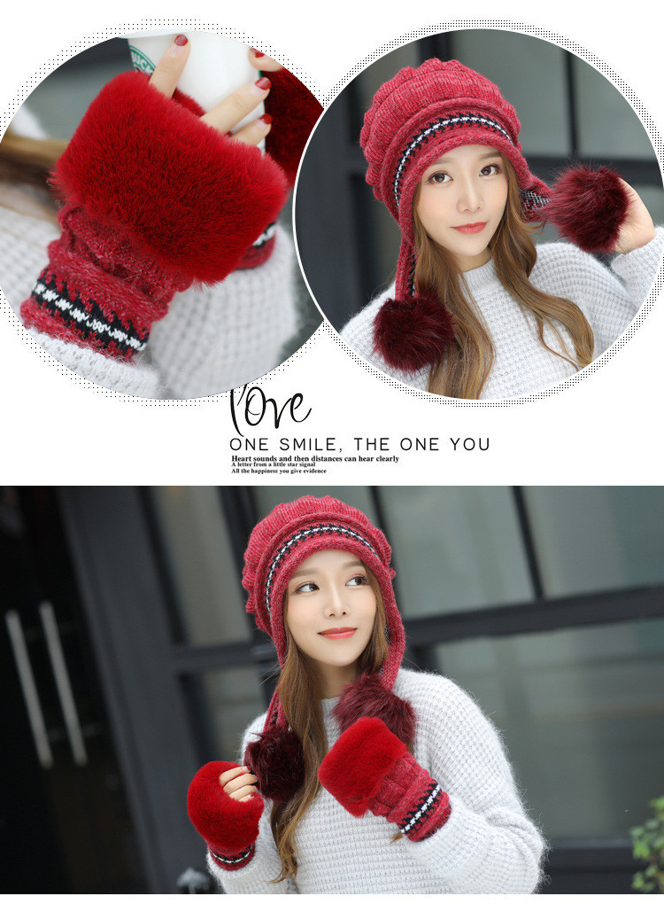 New Autumn And Winter Korean Version Of The Warm Women Hat Gloves Set Knitted Hair Ball Two Sets Of Ladies Thickening HC37 (10)