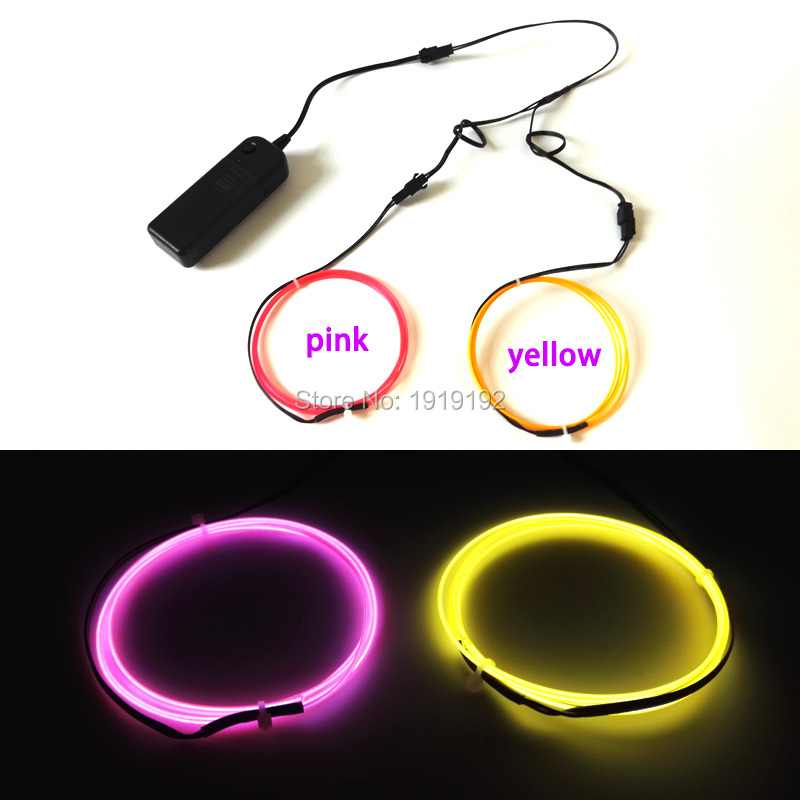 Two Multicolor 1.3mm 1Meter Led Flexible EL Wire Neon Light rope DC3V Car Party decoration Can offer 360 degrees of illumination