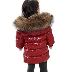 2-6y Baby Winter Schnee Tragen-30 Grad Russland Winter Kinder Kleidung Mädchen Mode Warme Jacke Jungen Big Pelz 90% weiße Ente Unten