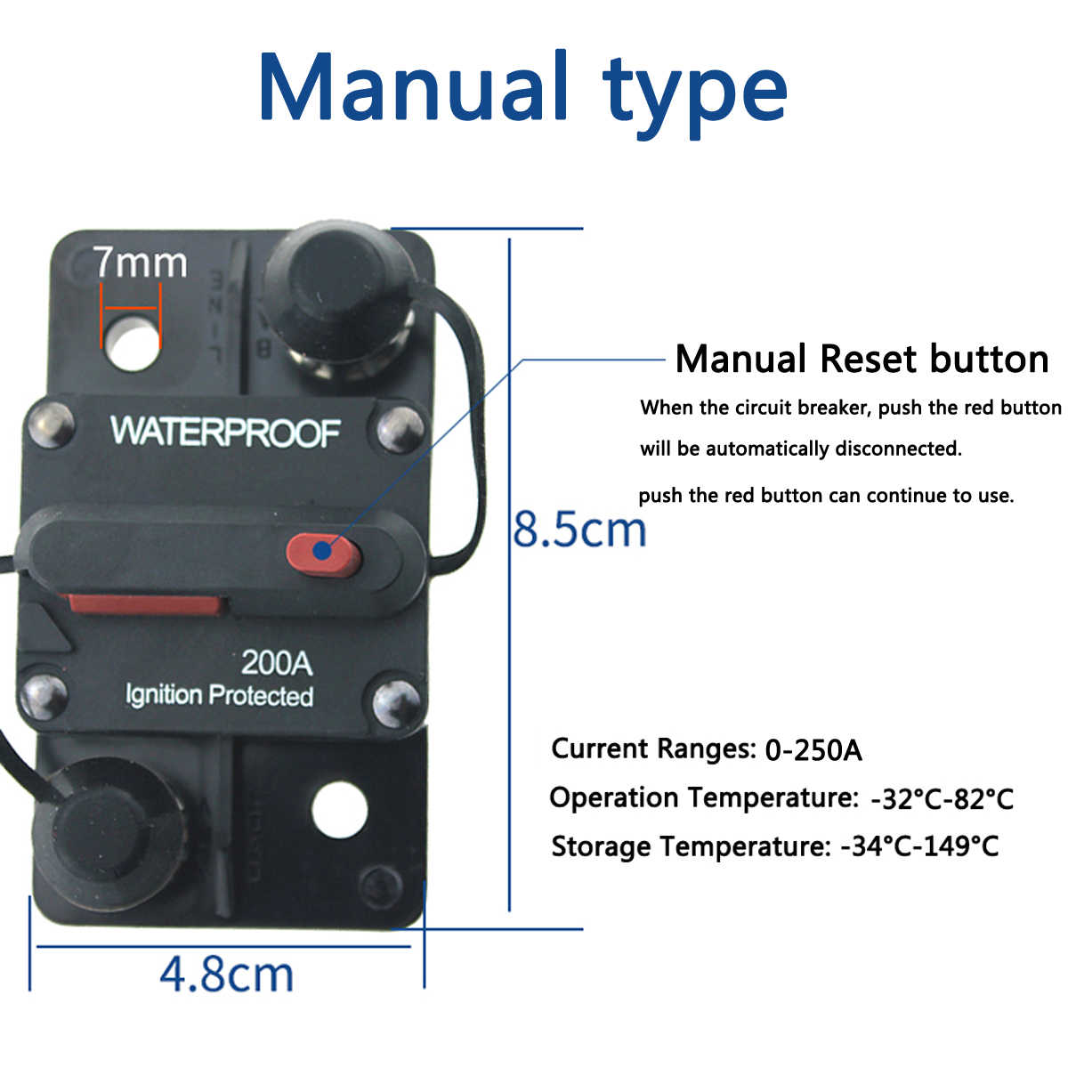 150A 140A Automobile Circuit Breaker Manual Reset Switch For 12V 24V 36V 48V Car