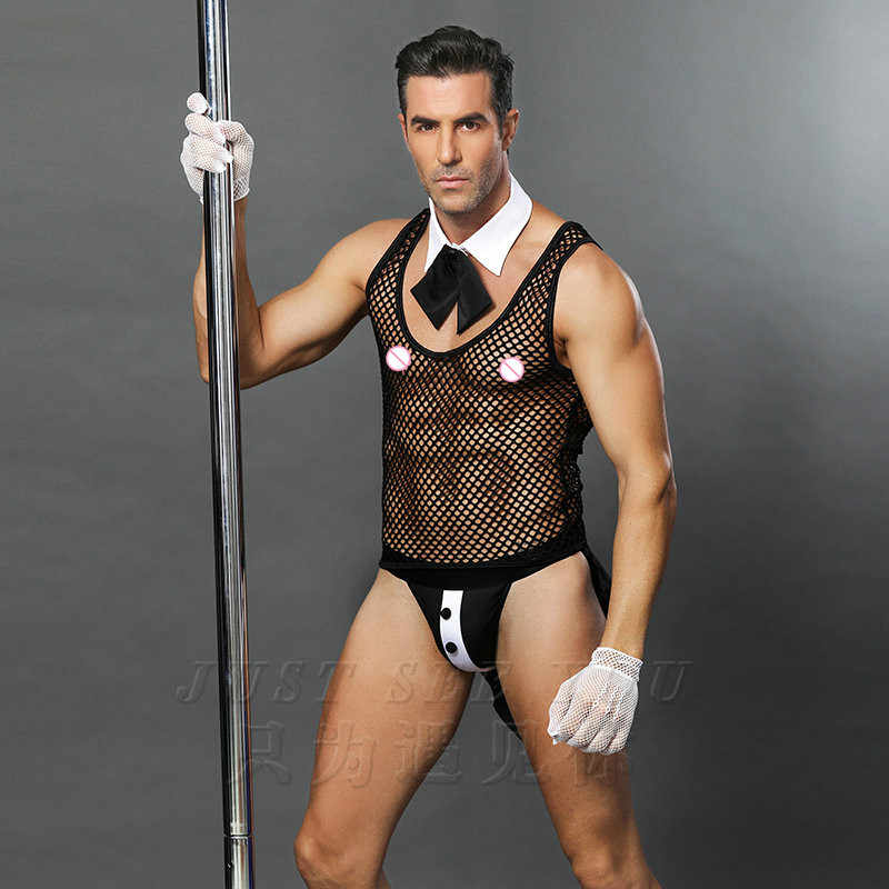 6619 Hot Erotic Men Sexy Waiter Outfit Cosplay Costume Men Maid Lingerie Cosplay Costumes For Sexy