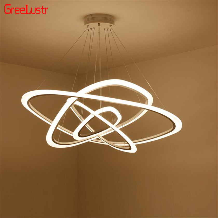 Nordic Circle LED Chandelier Lighting For Dining Room Rings Acrylic Aluminum Chandelier lamp Hanging Fixtures Lustres Luminaire circle
