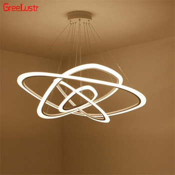 Nordic Circle LED Chandelier Lighting For Dining Room Rings Acrylic Aluminum Chandelier lamp Hanging Fixtures Lustres Luminaire