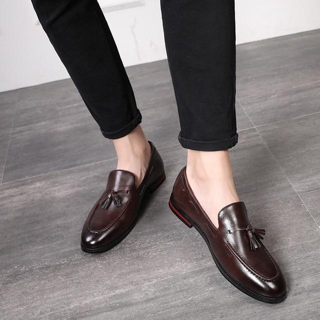 Merkmak Summer Men Tassel Loafers Leather Formal Shoes Elegant Dress Shoe Simple Slip On Man Casual Footwear Large Size 48 47 46