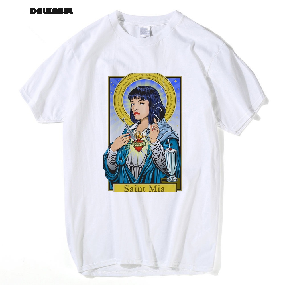 Movie Pulp Fiction T shirt Virgin Mary Mia Wallace T shirt Men Poster Saint Mia T shirt Male Quentin Tarantino Fans Top Tees 3XL in T Shirts from Men 39 s Clothing