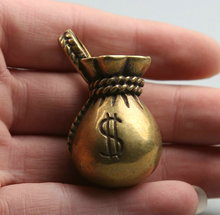 45MM/1.8Collect Curio Rare China Fengshui Small Bronze Exquisite Purse Moneybag Money Wealth Pendant Statue Statuary 26g