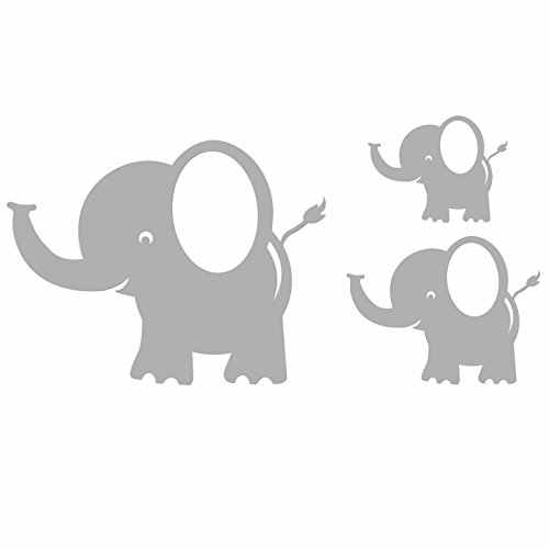 A041 Bobee Baby Elephant Wall Decals, Room Decor, Light Grey, 5-pack, Small