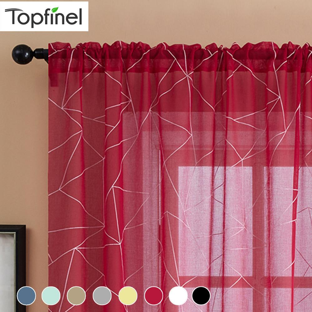 Topfinel Geometric Nordic Style Window Curtain Decoration Modern Chiffon Sheer Curtains For Living Room Tulle Curtains Drapes