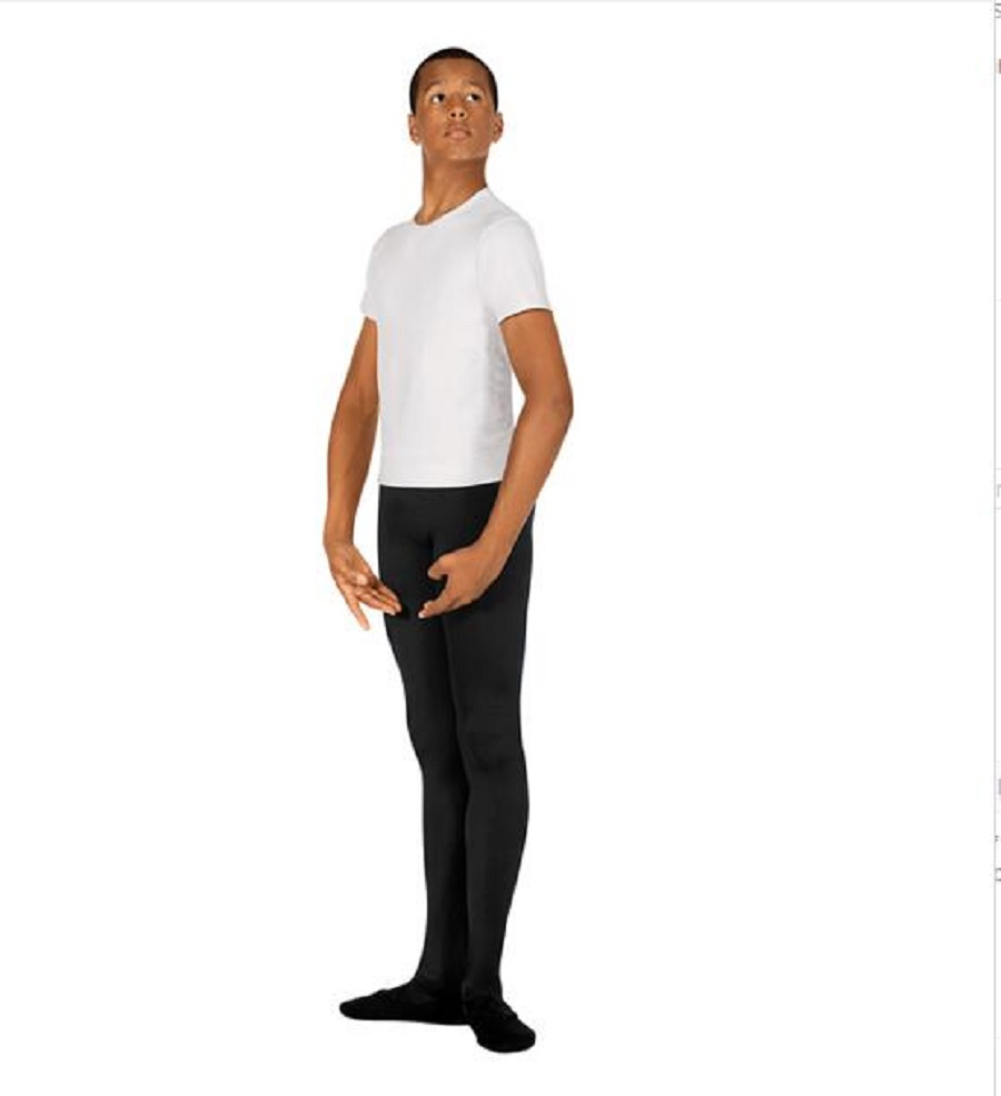 Hot Sale Wholesale Discount Men Boy Black White Soft Microfiber Footed Dance Ballet Tights