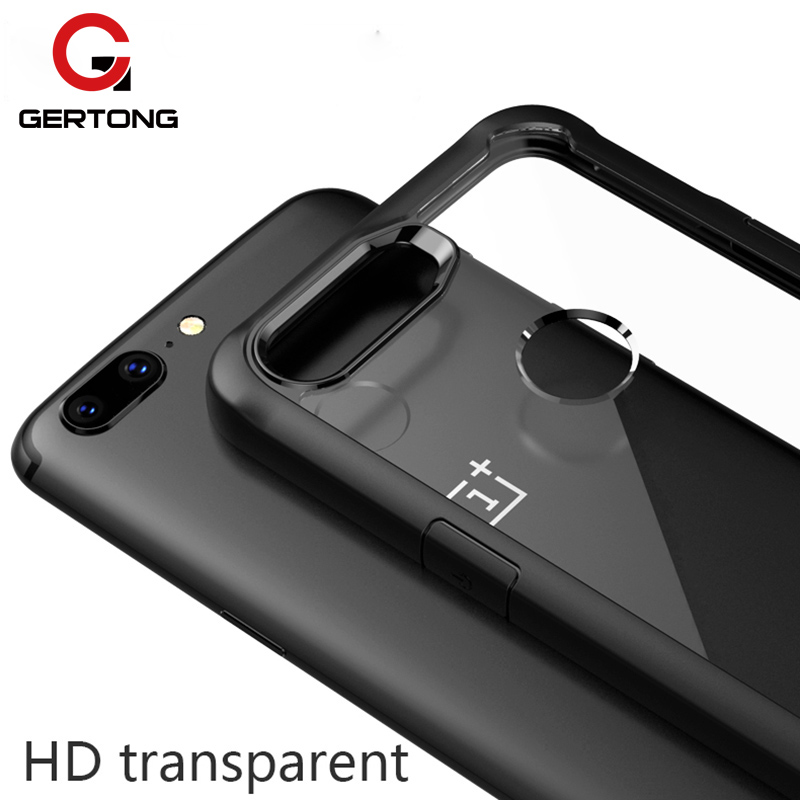 GerTong For Oneplus 5T Case Luxury Transparent Acrylic PC Back Cover + Silicone Bumper Airbag Case Shockproof for One plus 6 5T