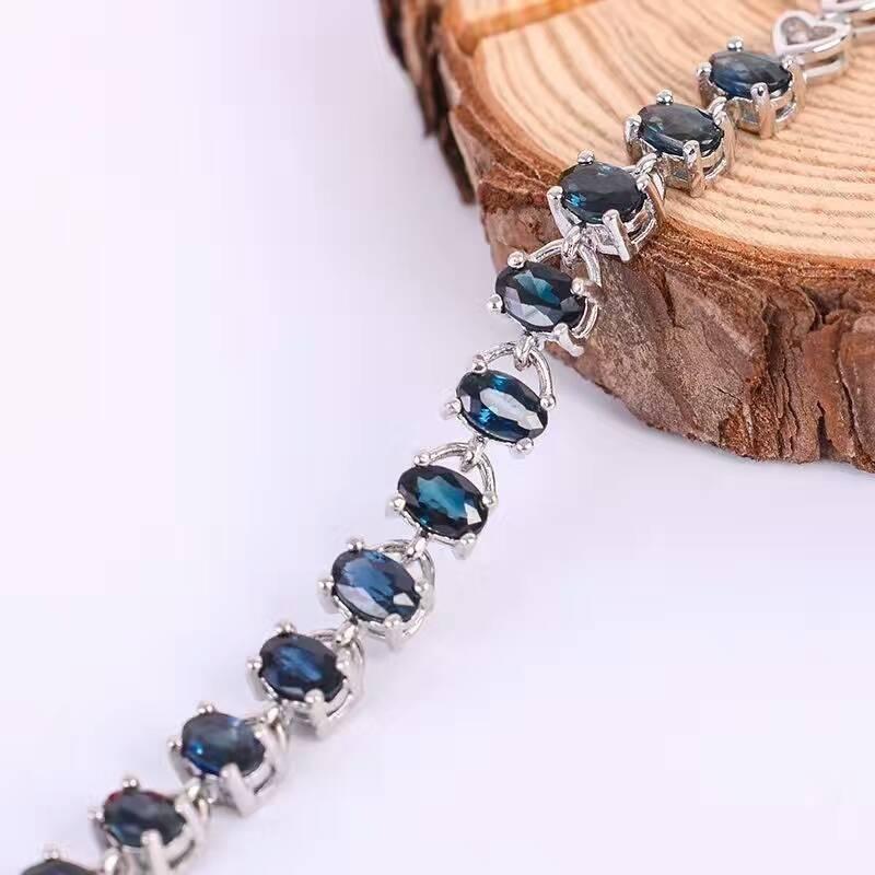Promozione zaffiro braccialetto 12 pz 3.6ct naturale dark blue sapphire gemstone bracciale solid 925 argento braccialetto della pietra preziosa-in Bracciali e braccialetti da Gioielli e accessori su  Gruppo 2