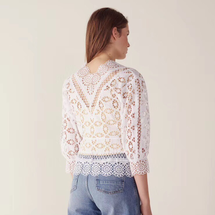 G495017 Frauen Bluse Spitze Shirt Weibliche Lange sleeved Frühling V ausschnitt Temperament Bluse Hemd Solide Kausal Tops - 4