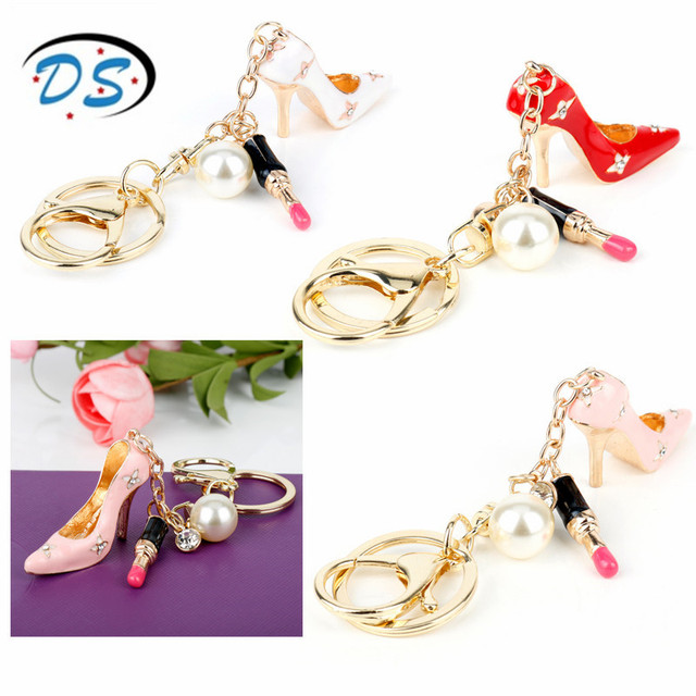 Purse Jewelry Bag Handbag Keychain High Heel Shoes Keyrings For Bags Handbags Pendants Holder Pearls