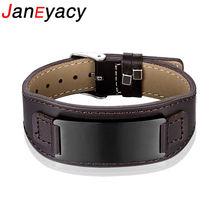 Женский кожаный браслет janeyacy из нержавеющей стали с пряжкой