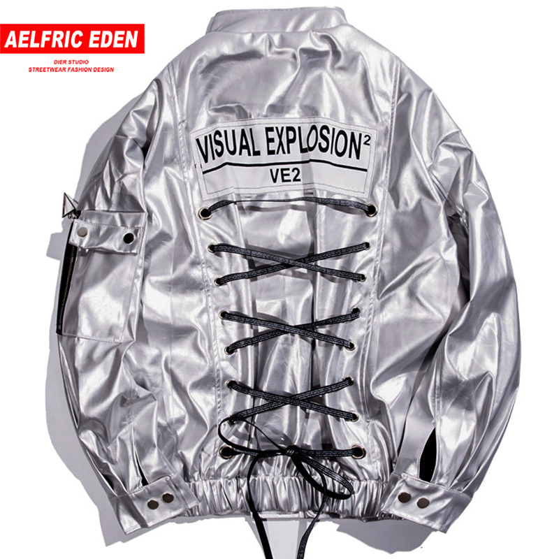 Aelfric Eden Bandage Leather Bomber Jacket Mens Hip Hop Streetwear 2018 Autumn Winter Faux Leather Overcoat Windbreaker KJ167