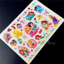 Fairytale Mermaid Snow White Cartoon Flash Tattoo Sticker Kids Anime Temporary Tattoo Body Arm Waterproof Tatoo Free Shipping