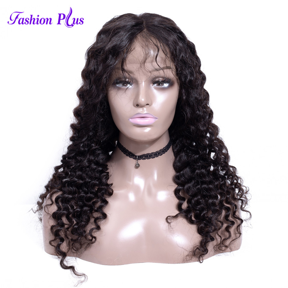 Fashion Plus Pre Plucked Full Lace Brazilian Human Hair Wigs With Baby Hair Gluless Full Lace Wig Bleached Knots Deep Curly Wig