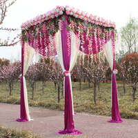 Square Canopy Curtain with Stand Pavilion Frame with Backdrop Curtain Churppah drapes(including curtains+stand+flowers)