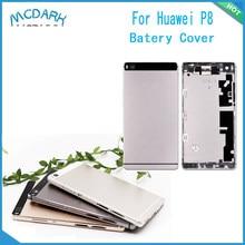 Mcdark-funda trasera de batería de 5,2 pulgadas para móvil, piezas de repuesto para Huawei P8, funda de puerta trasera + lente de botón para Huawei P8