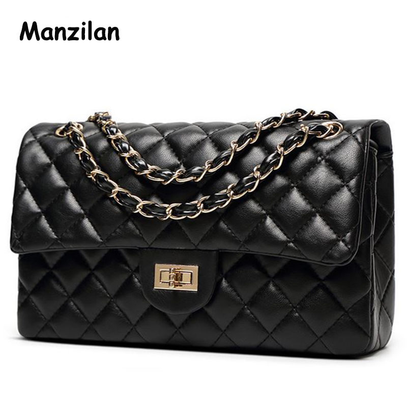Luxury Classical Black Chains Women bag Brand Fashion Genuine Leather Handbag Diamond Lattice Lady Shoulder Crossbody bag 2017 luxury genuine leather bag fashion brand designer women handbag cowhide leather shoulder composite bag casual totes
