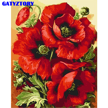 Бескаркасный красный цветок Diy цифровая картина маслом номера Современная Настенная живопись холст украшение дома для гостиной художестве... >> GATYZTORY Painting Store