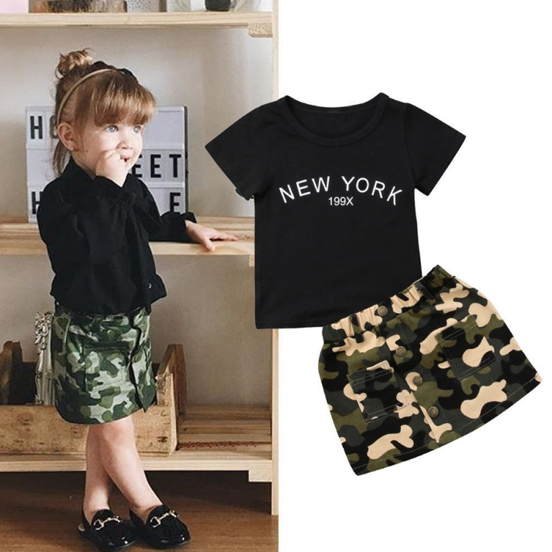 38844ba58 New 2PCS Toddler Kids Girl Clothes Set Summer Short Sleeve T-shirt Tops +  Camouflage
