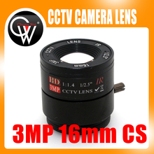 "2pcs 16mm CS Lens 3.0 Megapixel 1/2.5"" F1.4 CS Fixed IR CCTV Lens For IR 720P/1080P CCTV Security IP Camera"