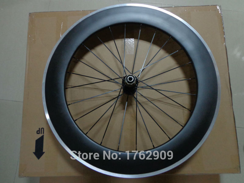 1pcs 700C 80mm clincher rim Track fixed gear road bike matte 3K aero carbon bicycle wheelsets with alloy brake surface Free ship