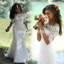 Elegant Romantic 2016 Half Sleeve White Ivory Lace Mermaid Wedding Dress vestidos de noiva Bridal Gowns gowns for Bride