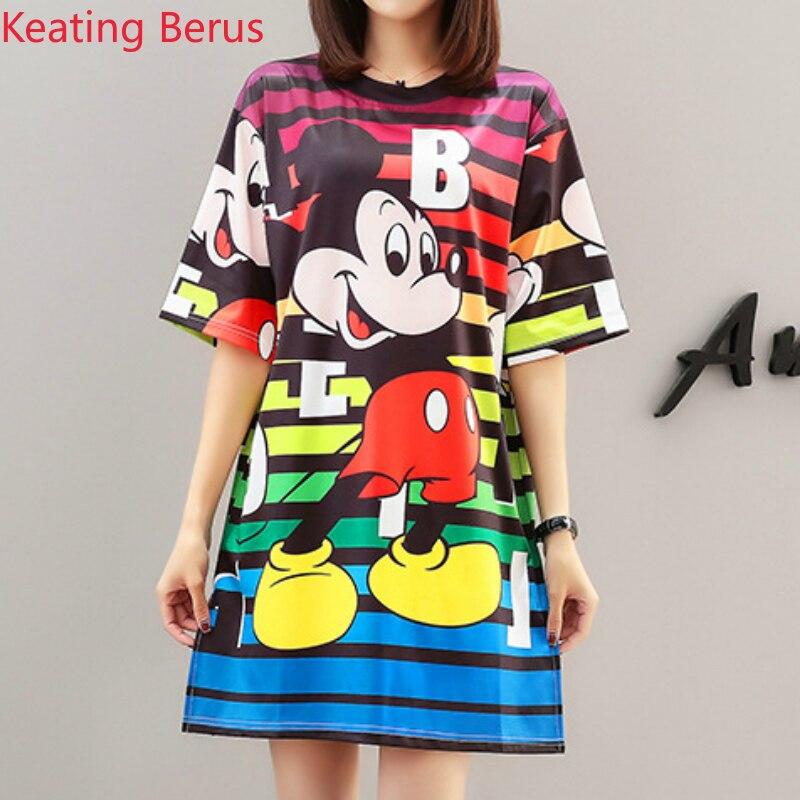 Women Cartoon Micky Mouse Striped Print Sundress A Line Skater Short Mini Dress