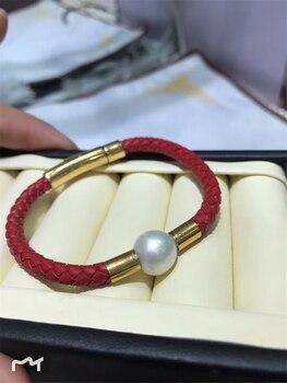 New Natural Edison Natural 11mm Pearl Titanium Steel Sheepskin Leather Red Black Rope Bracelet