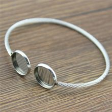 Stainless Steel Fit 12mm Glass Cabochon Super Flexible Bangle Base Bracelet Blank Findings Tray Bezel Setting For Jewlery Making(China)