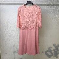 Summer Pink Dresses For Women O neck Lace Lady Half Sleeve Dress 2018 Fashion Women A line Dress