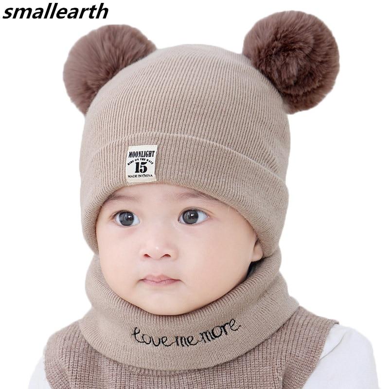 New Autumn Winter Baby Hat Scarf Set Crochet Children Pompom Hats Girl Boy Cap Baby Beanies Caps Toddlers Kids Hats Scarf Collar