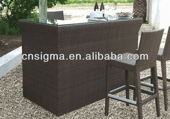 hot sale outdoor furntiure resin wicker bar table
