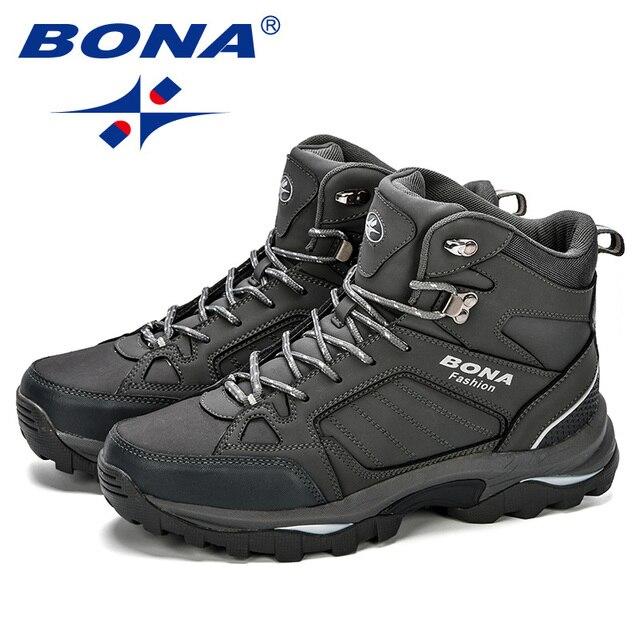 BONA Men Boots Anti-Skidding Leather Shoes Men Popular Comfy Spring Autumn Men Shoes Short Plush Snow Boots Durable Outsole 3