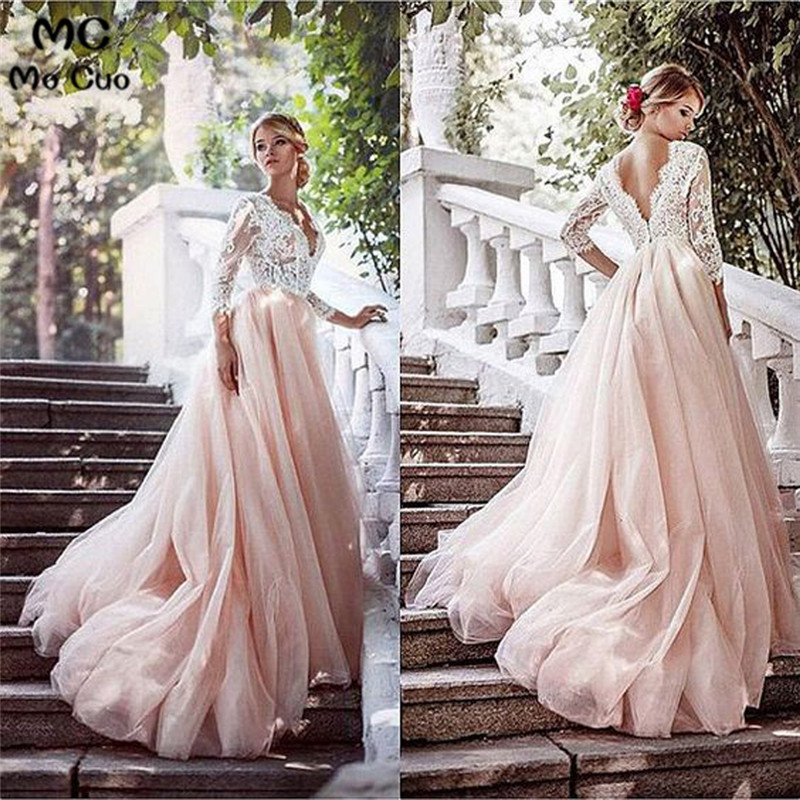 Promotion 2018 Long   Prom     Dress   See Though Maid of Honer 3/4 Sleeves Lace Sweep Train Backless Pink Tulle   Prom     Dresses